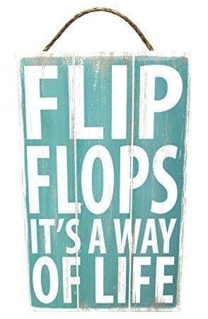 Poorboy-Woodworks-Sign-Coastal-Slats-Flip-Flops-Its-A-Way-Of-Life-0-294x450 Wooden Beach Signs and Coastal Wood Signs