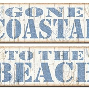 Popular Beach Signs Gone Coastal And To The Beach Nautical Decor Two 18x6 Poster Prints BrownBlue 0 300x300