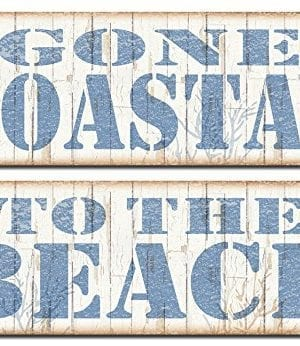 Popular Beach Signs Gone Coastal And To The Beach Nautical Decor Two 18x6 Poster Prints BrownBlue 0 300x346