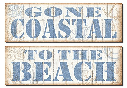Popular-Beach-Signs-Gone-Coastal-and-To-the-Beach-Nautical-Decor-Two-18x6-Poster-Prints-BrownBlue-0 The Best Wooden Beach Signs You Can Buy