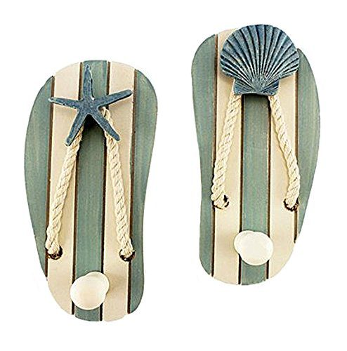 Set Of 2 Wood Sandal Wall Hooks New 0
