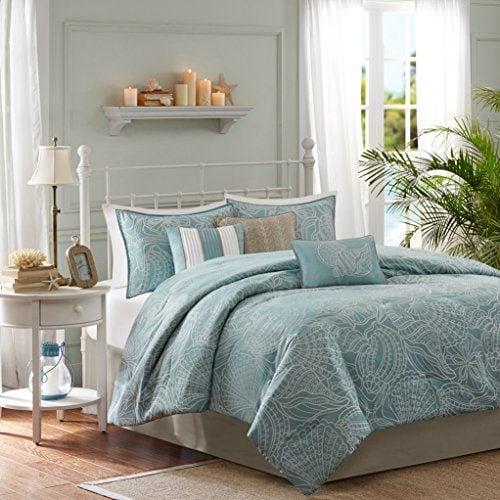 Soft Blue Seashells Starfish Beach House Island CAL King Comforter Set 7 Piece Bed In A Bag HOMEMADE WAX MELT 0