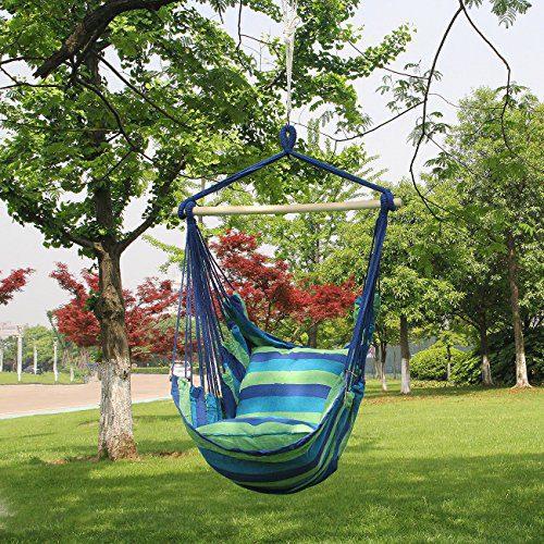Sorbus Blue Hanging Rope Hammock Chair Swing Seat