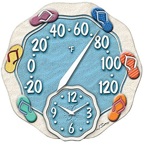 Springfield 12 Sandals Poly Resin Thermometer With Clock 0