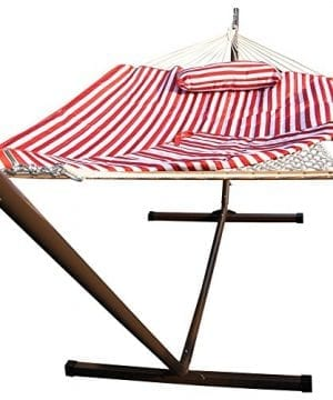 Sundale-Outdoor-Stripe-Cotton-Rope-Hammock-with-12-Feet-Steel-Stand-Quilted-Polyester-Pad-and-Pillow-0-300x360 100+ Best Outdoor Hammocks For 2020