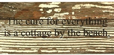 The-Cure-For-Everything-Is-A-Cottage-By-The-Beach-Reclaimed-Wood-Art-Sign-14-in-x-6-in-0-450x219 Wooden Beach Signs and Coastal Wood Signs