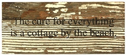 The-Cure-For-Everything-Is-A-Cottage-By-The-Beach-Reclaimed-Wood-Art-Sign-14-in-x-6-in-0 The Best Wooden Beach Signs You Can Buy