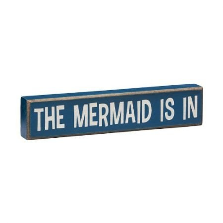 The-Mermaid-Is-In-Vintage-Coastal-Mini-Wood-Sign-8-in-0-450x450 100+ Mermaid Home Decor Ideas