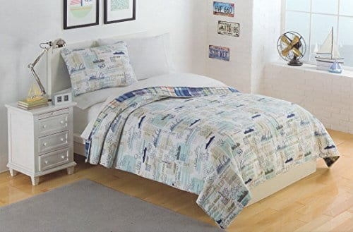 Toddler-Bedding-Cotton-FullQueen-3pc-Quilt-Set-Reversible-Plaid-Nautical-Freighter-Cargo-Ship-Bedding-Quilted-Bedspread-Sail-Away-0 Kids Beach Bedding & Coastal Kids Bedding