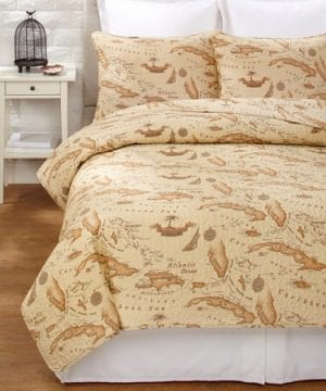 Tommy-Bahama-Map-Quilt-Set-0-300x360 200+ Coastal Bedding Sets and Beach Bedding Sets