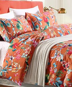Tropical-Garden-Luxury-3-Piece-Duvet-Cover-Set-Island-Tree-Branch-and-Birds-Multicolored-Floral-Pattern-100-percent-brushed-Cotton-Twill-0-247x296 Hawaii Themed Bedding Sets