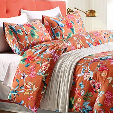 Tropical-Garden-Luxury-3-Piece-Duvet-Cover-Set-Island-Tree-Branch-and-Birds-Multicolored-Floral-Pattern-100-percent-brushed-Cotton-Twill-0-450x450 Coastal Bedding In A Bag