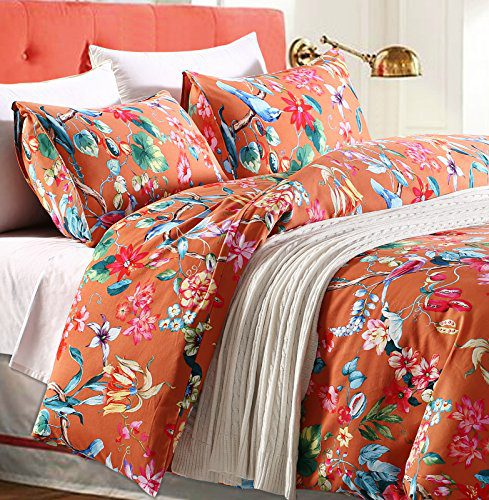 Tropical Garden Luxury 3 Piece Duvet Cover Set Island Tree Branch And Birds Multicolored Floral Pattern 100 Percent Brushed Cotton Twill 0
