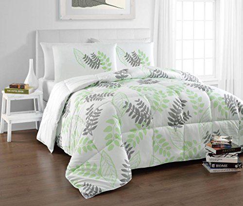 Popular Tropical Green, White Natural Leaf Print Comforter Set EY87
