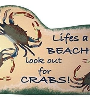 Tropical-Tiki-Lifes-A-Beach-Crab-Wood-Sign-Plaque-0-300x331 100+ Wooden Beach Signs & Wooden Coastal Signs