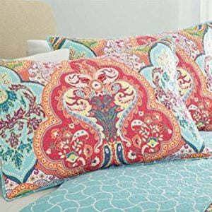 Turquoise Coral Tropical Beach Damask Full Queen Quilt Shams 3 Piece Bedding Set 0 0 300x300