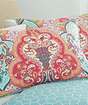 Turquoise Coral Tropical Beach Damask Full Queen Quilt Shams 3 Piece Bedding Set 0 0 300x356