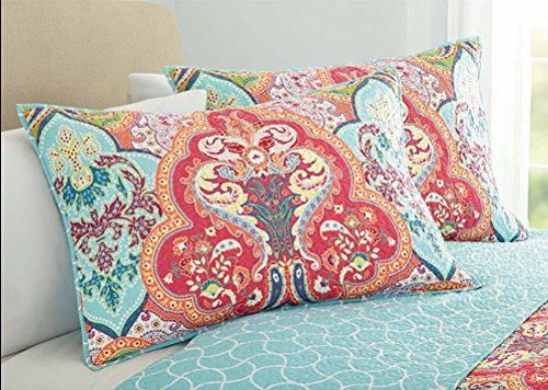Turquoise Coral Tropical Beach Damask Full Queen Quilt Shams 3 Piece Bedding Set 0 0