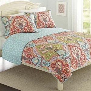 Turquoise Coral Tropical Beach Damask Full Queen Quilt Shams 3 Piece Bedding Set 0 300x300