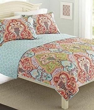 Turquoise Coral Tropical Beach Damask Full Queen Quilt Shams 3 Piece Bedding Set 0 300x352