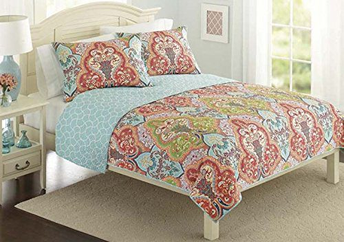 Turquoise-Coral-Tropical-Beach-Damask-Full-Queen-Quilt-Shams-3-Piece-Bedding-Set-0 Coral Bedding Sets and Coral Comforters