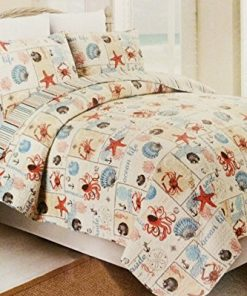 Western-Peak-3-Piece-Coastal-Beach-Tropical-Ocean-Aqua-Coral-Starfish-Sea-Shell-Quilt-Set-0-247x296 Best Starfish Bedding and Quilt Sets