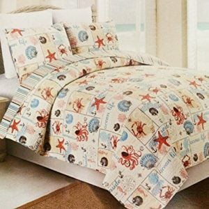 Western-Peak-3-Piece-Coastal-Beach-Tropical-Ocean-Aqua-Coral-Starfish-Sea-Shell-Quilt-Set-0-300x300 Hawaii Themed Bedding Sets