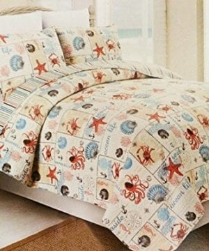 Western Peak 3 Piece Coastal Beach Tropical Ocean Aqua Coral Starfish Sea Shell Quilt Set 0 300x360