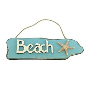 Wooden Beach Sign With Starfish 95 Inches Long 0 300x300