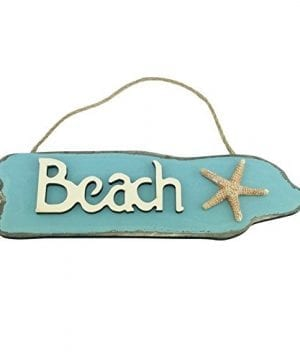 Wooden Beach Sign With Starfish 95 Inches Long 0 300x360