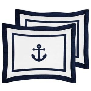 Anchors Away Nautical Navy And White Boys 3 Piece Full Queen Bedding Set 0 0 300x300