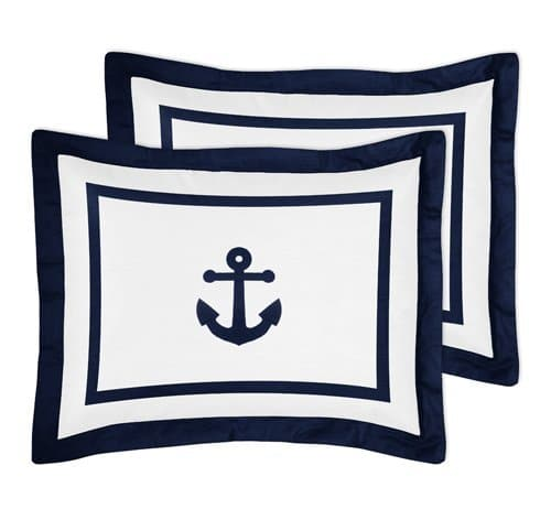 Anchors Away Nautical Navy And White Boys 3 Piece Full Queen Bedding Set 0 0