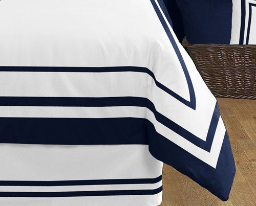 Anchors Away Nautical Navy And White Boys 3 Piece Full Queen Bedding Set 0 1