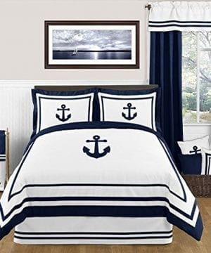 Anchors-Away-Nautical-Navy-and-White-Boys-3-Piece-Full-Queen-Bedding-Set-0-300x360 100+ Nautical Anchor Decorations and Decor