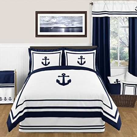 Anchors-Away-Nautical-Navy-and-White-Boys-3-Piece-Full-Queen-Bedding-Set-0-450x450 Nautical Anchor Decor