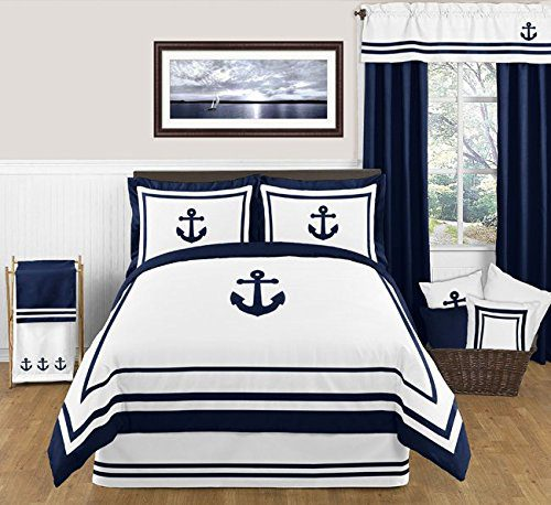 Anchors Away Nautical Navy And White Boys 3 Piece Full Queen Bedding Set 0