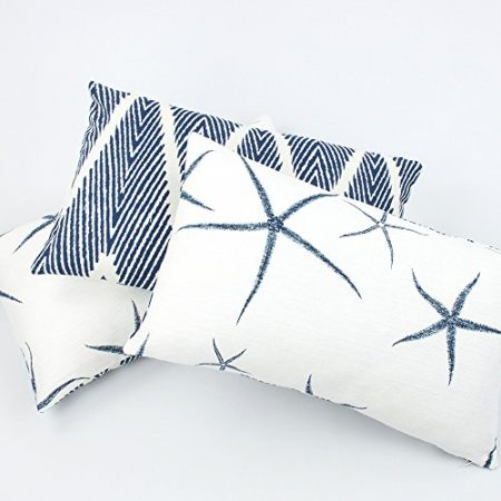 Chloe-Olive-Beach-Bum-Blue-Collection-Reversible-Starfish-and-Chevron-12-by-20-Inch-Lumbar-Decorative-Pillow-Cover-1-Cover-Coastal-Dcor-Blue-White-0-450x450 Nautical Pillows and Nautical Throw Pillows