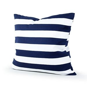 Lavievert Decorative Canvas Square Throw Pillow Cover Cushion Case Navy Blue Stripe Toss Pillowcase With Hidden Zipper Closure 18 X 18 Inches For Living Room Sofa Etc 0 300x300