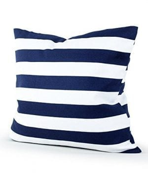 Lavievert-Decorative-Canvas-Square-Throw-Pillow-Cover-Cushion-Case-Navy-Blue-Stripe-Toss-Pillowcase-with-Hidden-Zipper-Closure-18-X-18-Inches-For-Living-Room-Sofa-Etc-0-300x360 100+ Coastal Throw Pillows & Beach Throw Pillows