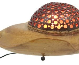Natural Coconut Shell Stingray Accent Lamp Night Light 0 1 300x249