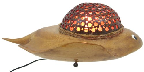 Natural Coconut Shell Stingray Accent Lamp Night Light 0 1
