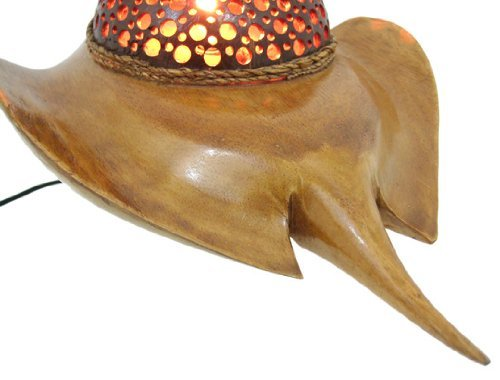 Natural Coconut Shell Stingray Accent Lamp Night Light 0 2