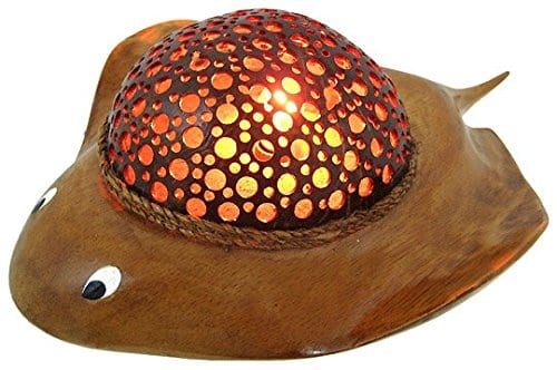 Natural Coconut Shell Stingray Accent Lamp Night Light 0