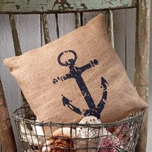 Nautical Ships Anchor Burlap Accent Pillow 8 In X 8 In 0 300x300