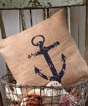 Nautical Ships Anchor Burlap Accent Pillow 8 In X 8 In 0 300x360