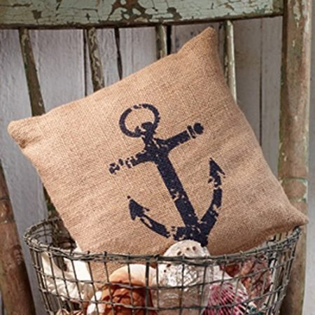 Nautical-Ships-Anchor-Burlap-Accent-Pillow-8-in-x-8-in-0-450x450 Nautical Anchor Decor