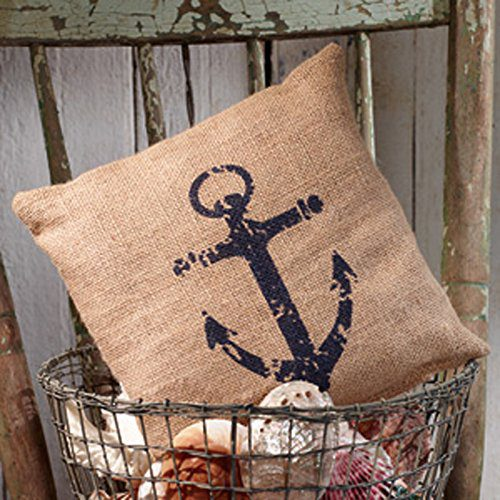 Nautical Ships Anchor Burlap Accent Pillow 8 In X 8 In 0