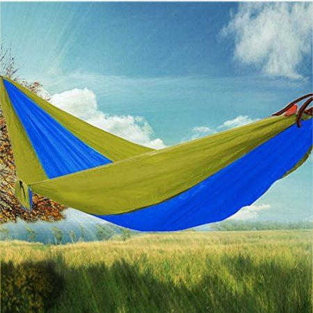 RioRand 2-Person Camping Parachute Hammock, Army Green/Blue