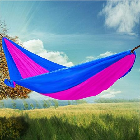 RioRand 2-Person Camping Parachute Hammock, Blue/Rose Red