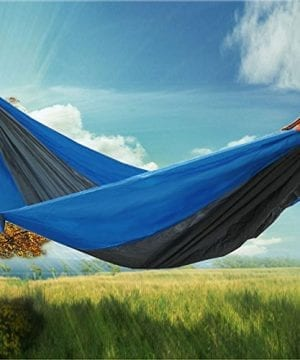 RioRand-2-Person-Portable-Outdoor-Double-Camping-Parachute-Hammocks984-Long-X-55-WideBlueGrey-0-300x360 100+ Best Outdoor Hammocks For 2020